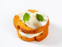 Mini toasts with cream cheese Royalty Free Stock Image
