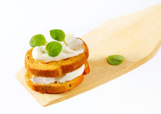 Mini toasts with cream cheese Royalty Free Stock Images