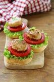 Mini tomates de las hamburguesas del aperitivo, lechuga y bolas de carne Fotografía de archivo
