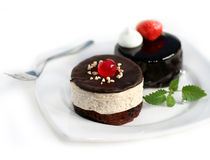 Mini torta de la castaña y torta del chocolate mini Foto de archivo
