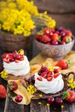 Mini torta deliciosa del merengue de Pavlova adornada con el berrie fresco fotografía de archivo