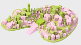 Mini toy Old city concept pink and green on white, 3d rendering