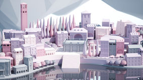 Mini toy Old city down town on small iland, 3d rendering Stock Image