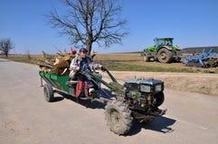 Mini-tractor in village street_4 Stock Photo