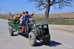 Mini-tractor in village street_5 Stock Image