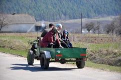 Mini-tractor in village street_7 Stock Photos
