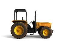 Mini Tractor Yellow 3d übertragen auf weißem Hintergrund Stockfotografie