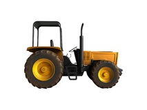 Mini Tractor Yellow 3d ne rendent sur le fond blanc aucune ombre Photo libre de droits