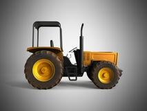 Mini Tractor Yellow 3d rinde en fondo gris Foto de archivo