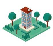 Mini tree and building isometric Royalty Free Stock Photos