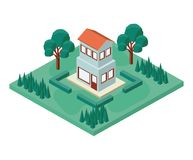 Mini tree and house isometric Stock Photo