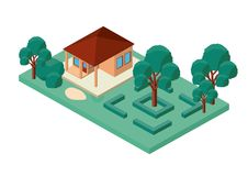 Mini tree and house isometric Royalty Free Stock Image