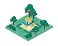 Mini tree and store building isometric Royalty Free Stock Photo