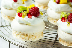 Mini Tropical Fruit Pavlova Meringue Desserts Royalty Free Stock Images
