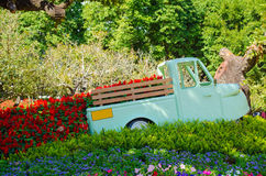 Mini truck with flowers Royalty Free Stock Images