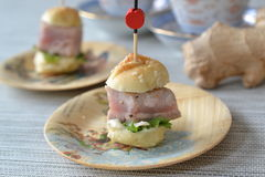 Mini tuna burger. With sushi ginger and wasabi mayonnaise Stock Photo