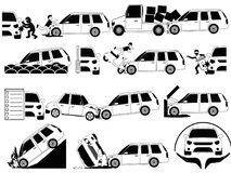 Mini van crash and accidents on the road icons set outline conce Stock Images