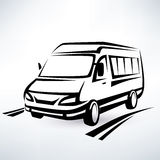 Mini van outlined sketch Stock Photos