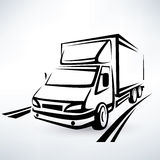 Mini van outlined sketch Royalty Free Stock Photo
