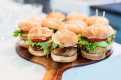 Mini vegan quinoa burgers royalty free stock photos