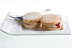 Mini Victoria Sponge Cakes. With buttercream & strawberry jam with a dusting of icing sugar Stock Photography