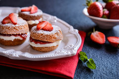 Mini Victoria sponge cakes with whipped cream and strawberries Royalty Free Stock Photography
