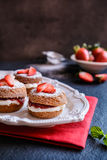 Mini Victoria Sponge Cakes With Whipped Cream And Strawberries Stock Photography