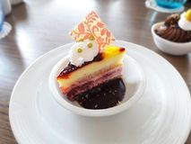 Mini warstwa tort na małej białej filiżance obraz royalty free