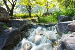 Mini waterfall in a park Royalty Free Stock Photos