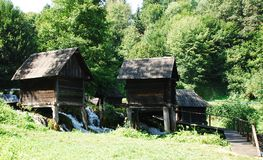 Mini Watermills on Pliva Lake Stock Photos