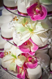 Mini Wedding Cakes and Flowers Detail Royalty Free Stock Image