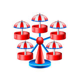 Mini wheel carousel isolated on white vector Royalty Free Stock Photos