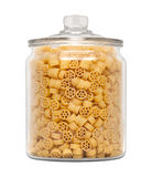 Mini Wheel Pasta in a Glass Apothecary Jar Stock Images