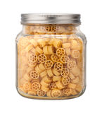 Mini Wheel Pasta in a Glass Jar Royalty Free Stock Image