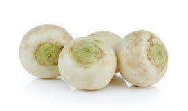Mini white turnips on white background Royalty Free Stock Photography