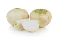 Mini white turnips on white background Royalty Free Stock Photos