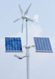 Mini wind power and solar panels. For domestic use Stock Photography