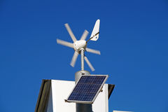 Mini wind power and solar panels for domestic use Stock Image