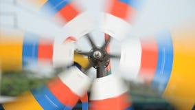 Mini wind turbine. Mini wind turbine made form metal rotating rapidly with winds stock footage