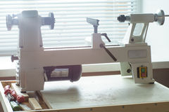 Mini Woodworking Lathe Close Up images stock