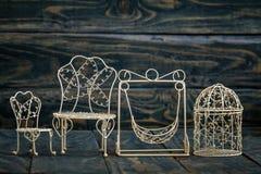 Mini Wrought Iron Objects decorativo blanco foto de archivo libre de regalías