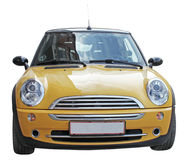 Mini Yellow Car. Smal yellowl stylish car front view isolated on a white background Royalty Free Stock Photo