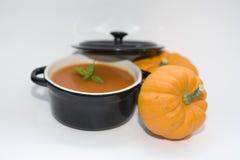 Mini zucche e minestra Immagine Stock Libera da Diritti