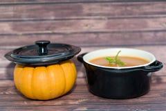 Mini zucche e minestra Fotografia Stock