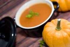 Mini zucche e minestra Fotografie Stock Libere da Diritti