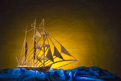 Miniatur von Pinisi-Schiff Stockfoto