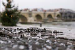 Miniatura antyczny bridżowy Steinbruecke w Regensburg z istnym mostem zamazywał w tle zdjęcie stock
