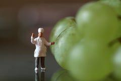 Miniatura de um cozinheiro chefe com uvas Imagem de Stock Royalty Free