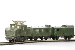 Miniatura del giocattolo di verde del treno elettrico Fotografia Stock Libera da Diritti