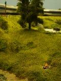 Miniatura del treno e della natura Fotografia Stock